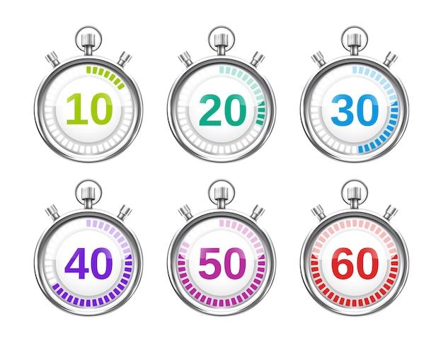 Sechs bunte stoppuhren mit unterschiedlichen zeiten in schritten von zehn
