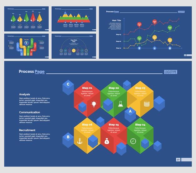 Sechs business diagramme slide templates set