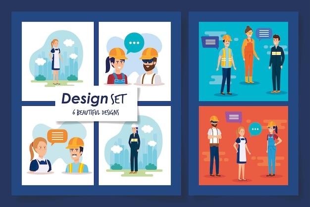 Sechs designs gruppe arbeiter