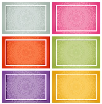 Sechs designs mit mandalamustern