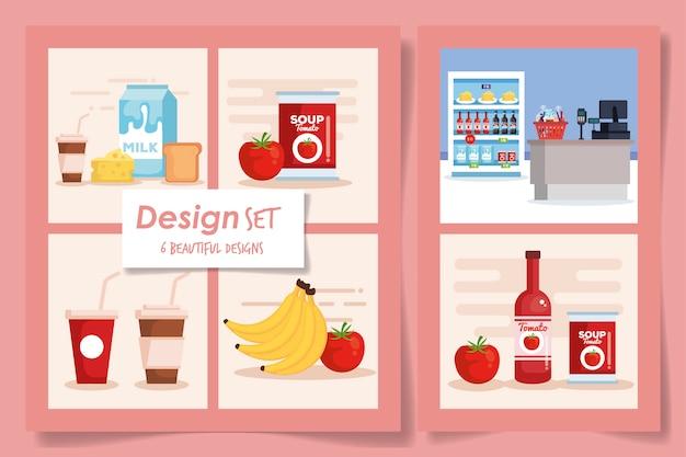 Sechs designs set von produkten supermarkt