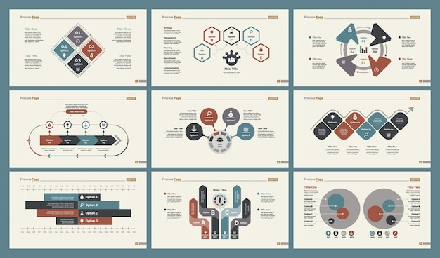 Sechs economics charts slide templates set