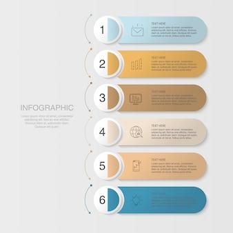 Sechs elemente infografik und icons für business-konzept.