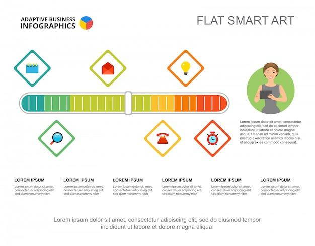 Sechs elemente verarbeiten diagrammvorlage für präsentation.