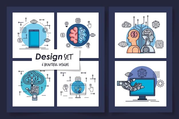 Sechs entwürfe künstlicher intelligenz