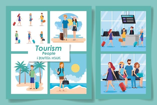 Sechs entwürfe von tourismusleuten