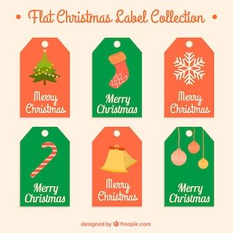 Sechs etiketten mit weihnachten elemente