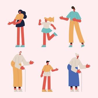 Sechs familienmitglieder gruppieren charaktere