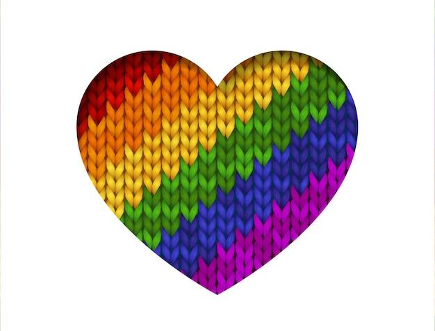 Sechs farben regenbogen gestrickt herzform für lesben, schwule, bisexuelle, transgender isoliert auf weißem hintergrund.