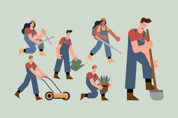 Sechs gärtnerfiguren, die aktivitäten üben