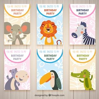 Sechs geburtstagskarten mit tieren