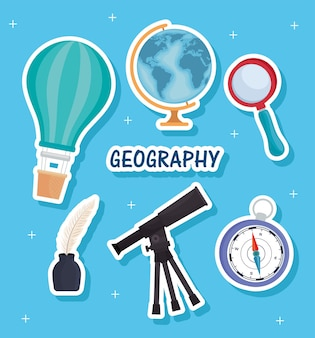 Sechs geographie liefert icons