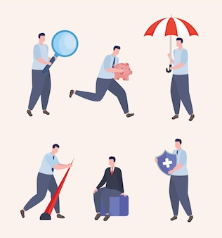 Sechs geschäftsleute risikomanagement