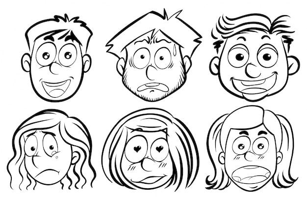 Sechs gesichter mit verschiedenen emotionen