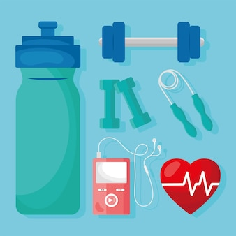Sechs gesundheits-app-symbole