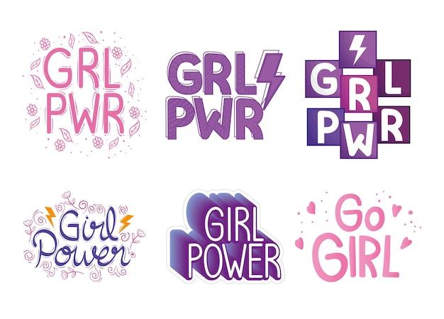 Sechs girl power schriftzüge set design