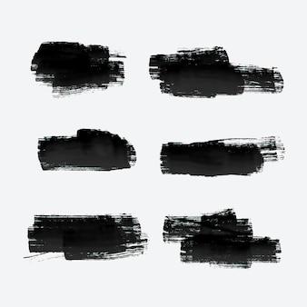 Sechs grunge-farben-strich-set
