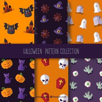 Sechs gruselige halloween-muster