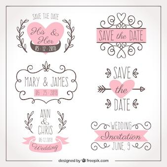 Sechs handgezeichnete Hochzeit Etiketten
