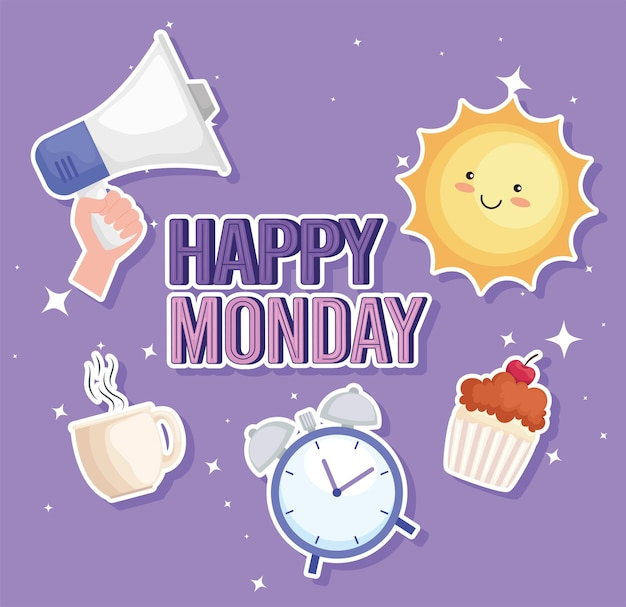 Sechs happy monday-symbole