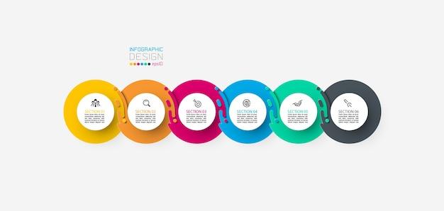 Sechs harmonische kreisinfografiken.