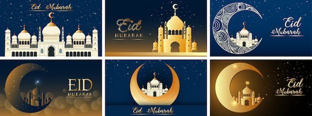 Sechs hintergrunddesigns für das muslimische festival eid mubarak