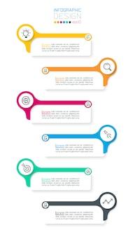 Sechs horizontale infografikenleiste.