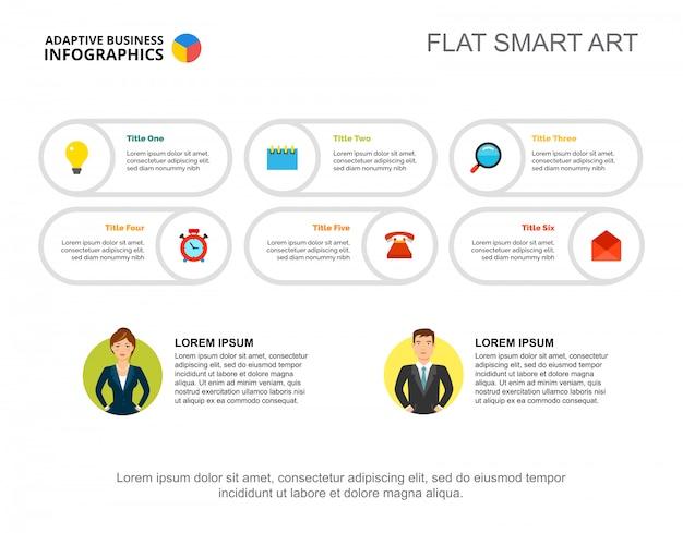 Sechs ideen verarbeiten diagrammvorlage für präsentation