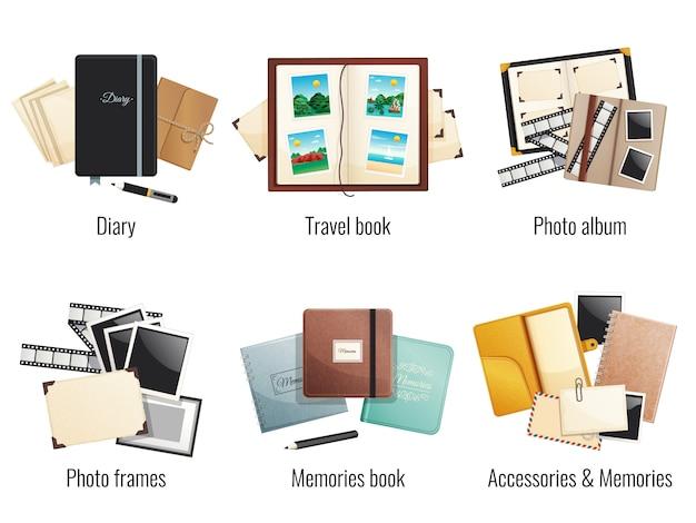 Sechs isolierte kompositionen von erinnerungen bücher tagebücher fotoalben reisebuch bilderrahmen cartoon