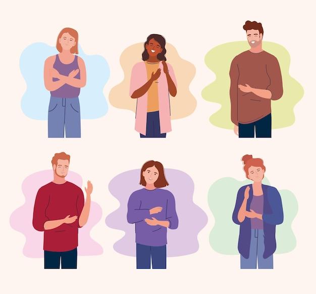 Sechs junge charaktere