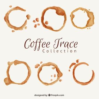 Sechs kaffeeflecken