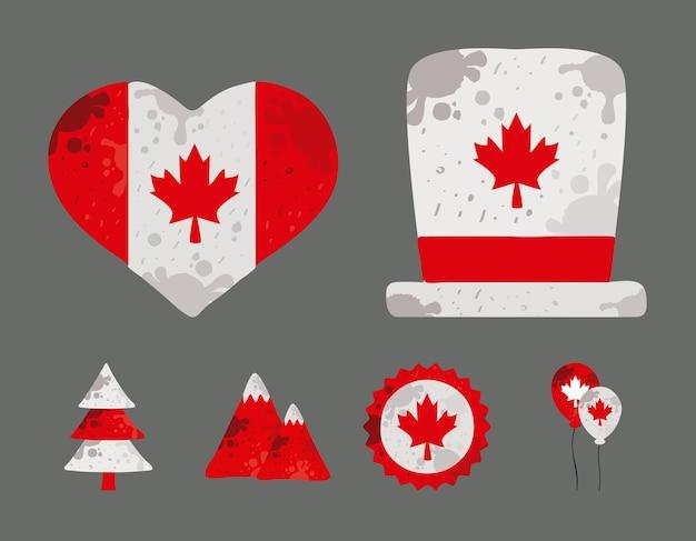 Sechs kanada-tage-symbole