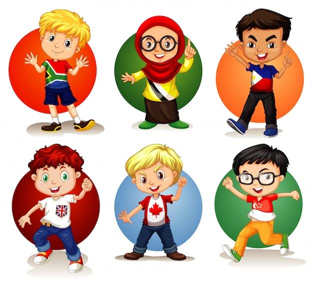 Sechs kinder aus verschiedenen ländern