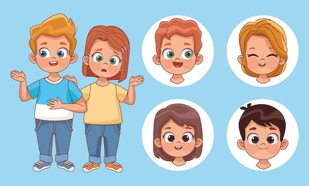 Sechs kinderfiguren