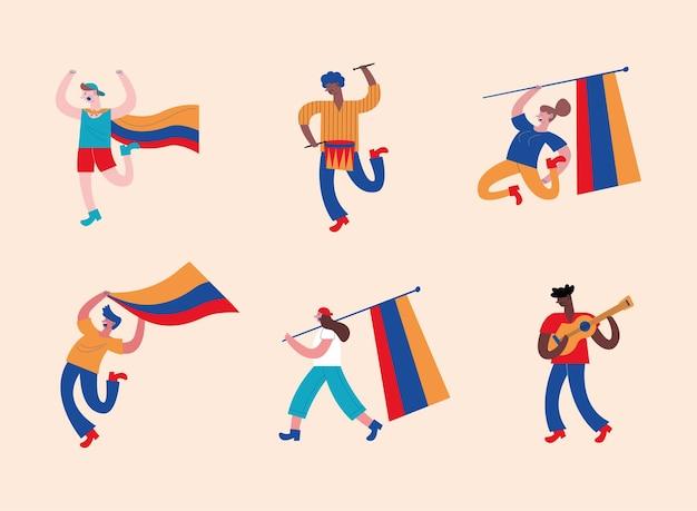 Sechs kolumbianische demonstranten randalieren charaktere