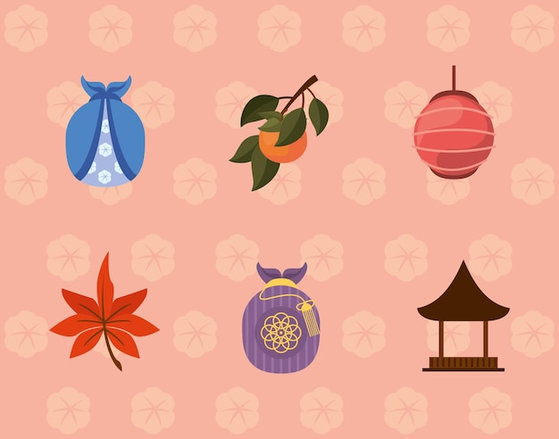 Sechs koreanische chuseok-symbole