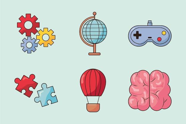 Sechs kreative symbole