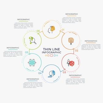 Sechs kreisförmige elemente mit linearen piktogrammen und zahlen im inneren, die zu einem ringförmigen diagramm verbunden sind. zyklische prozessvisualisierung. minimale infografik-designvorlage. moderne vektorillustration.