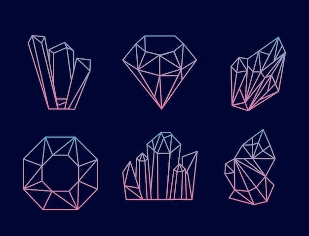 Sechs kristalledelsteine luxusikonen