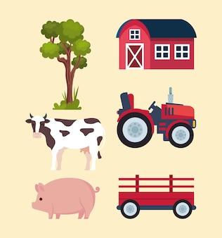 Sechs landwirtschaftliche symbole für die landwirtschaft