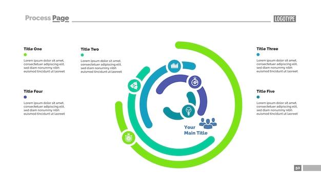 Sechs-layer-donut-diagramm folie vorlage. geschäftsdaten. grafik, diagramm
