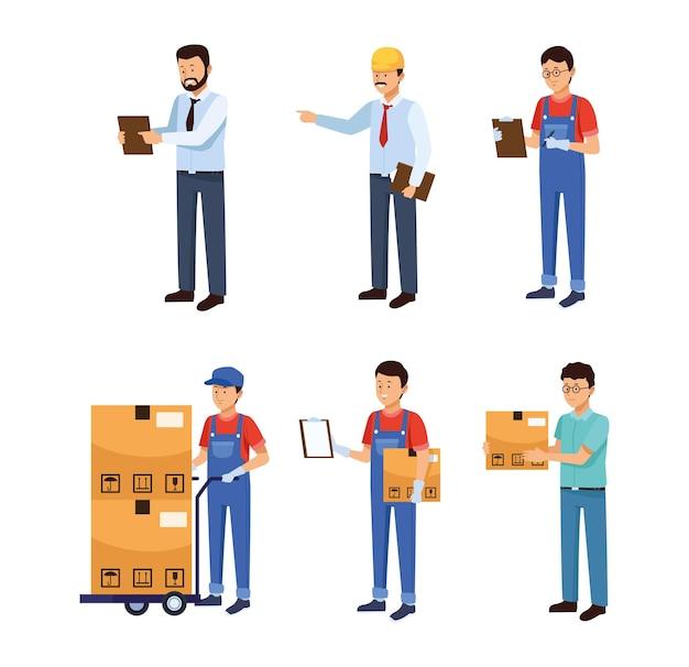 Sechs logistikmitarbeiter