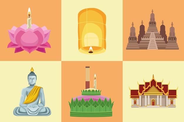 Sechs loy-krathong-symbole