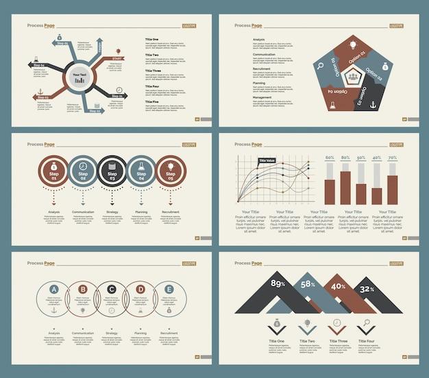 Sechs marketing slide vorlagen set