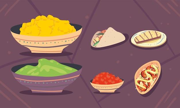 Sechs mexikanische tacos-ikonen