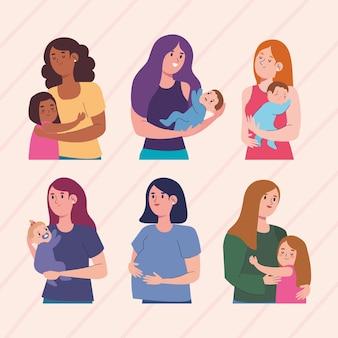 Sechs mütter und kinder charaktere gesetzt Premium Vektoren
