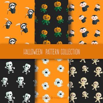 Sechs muster für halloween