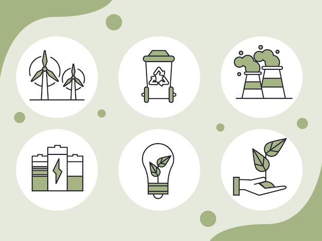 Sechs nachhaltige dinge-symbole