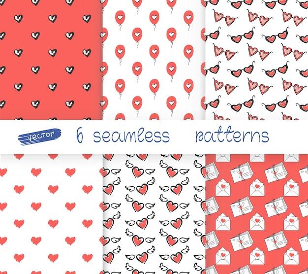 Sechs nahtlose muster romantischer rosa hintergrund für valentinstag oder hochzeit