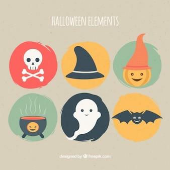 Sechs nette halloween-elemente